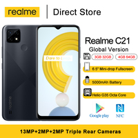 Global Version Realme C21 Smartphone 6.5 inch HD+ NFC Moible Phones  Helio G35 Octa Core 5MP Front Camera 5000mAh Battery 1
