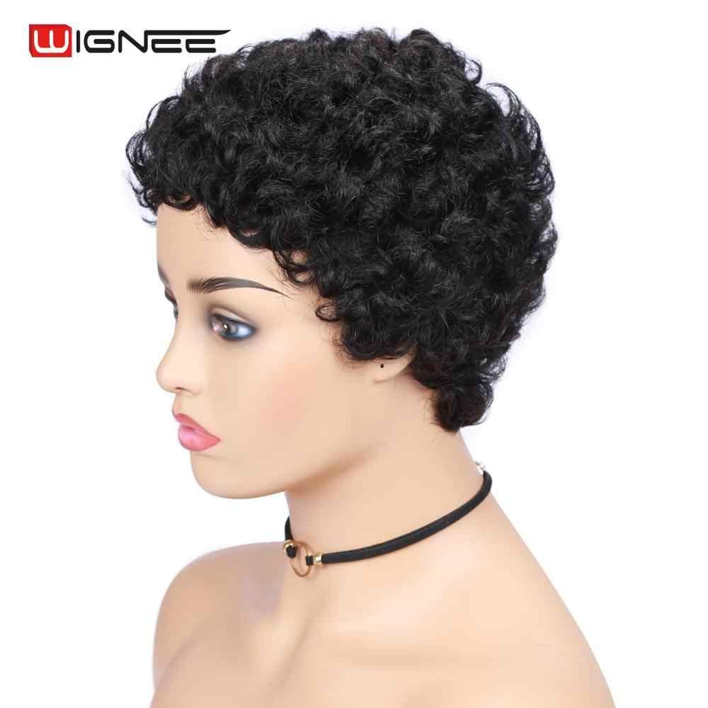 Wignee Pendek Keriting Rambut Manusia Wig untuk WANITA HITAM 150% Density Remy Brasil Tanpa Glueless Tanpa Pixie Cut Afro Curl Lembut dengan Harga Murah manusia Wig