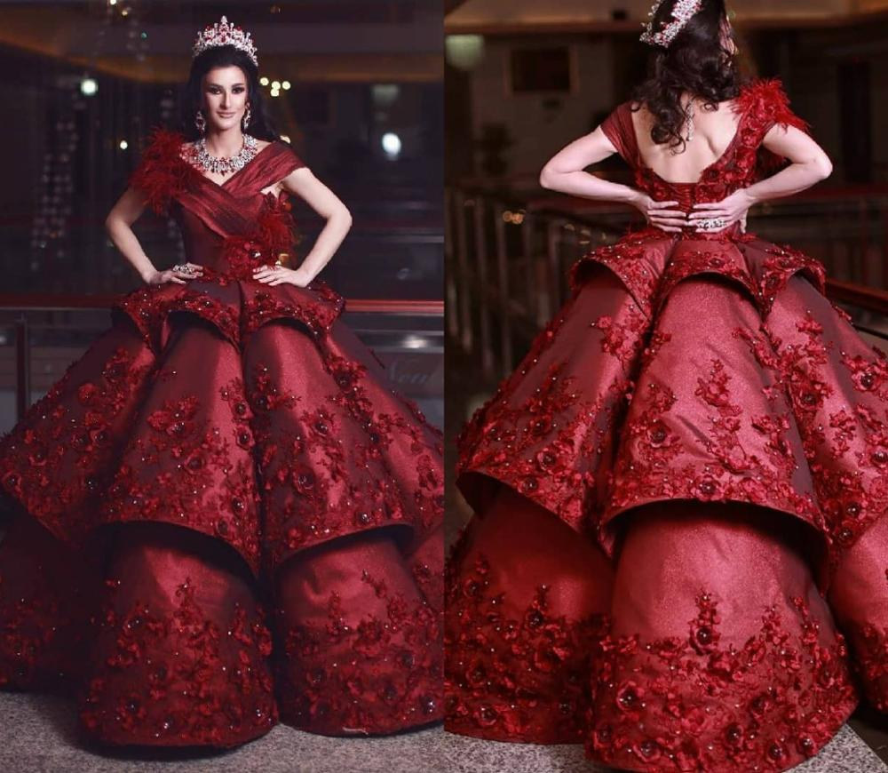 2020 New Arrival Burgundy Evening Dresses Feather 3D Floral Applique Beads Ball Gown Prom Dress Ruffles Formal Occasion Dress