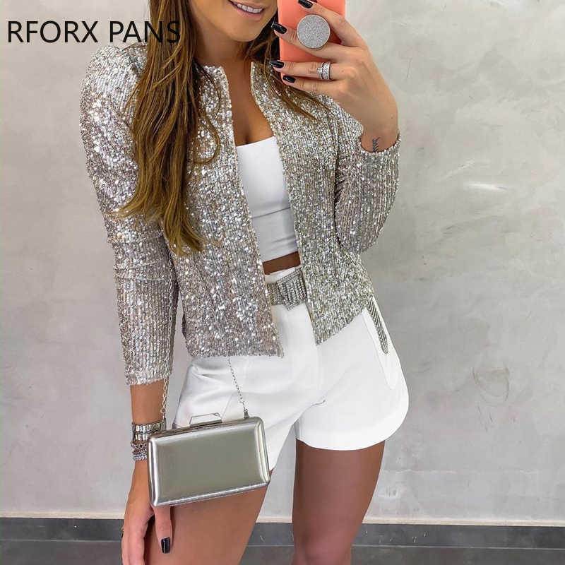 Long Sleeve Open Front Sequin Coat Women