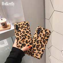 Leopard Print Warm Plush Phone Case For Xiaomi