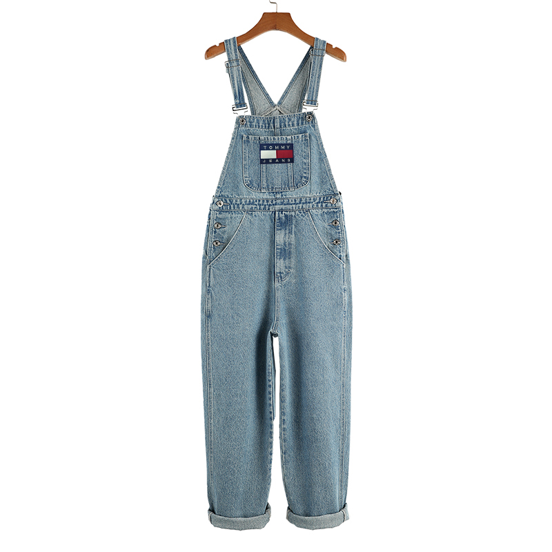 European And American Fashion Tide Brand Suspenders Denim Bib Pants Men And Women With The Same Casual Jeans Wide Leg Trousers