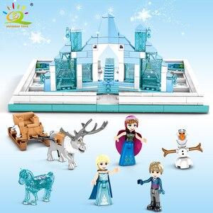 Image 2 - HUIQIBAO 575Pcs 스노우 퀸 매직 도서 빌딩 블록 장난감 여자 친구 궁전 얼음 성 공주 인물 벽돌 아이 선물 장난감
