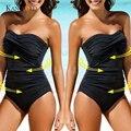 Женский Цельный купальник с высокой талией, сплошной черный купальник с подкладкой без бретелек, монокини 2020