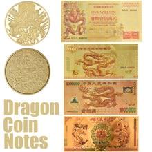 Dragon chinois 1000/ 1 Million/ 100 Quintillion Hong Kong 1 Million de billets en feuille d'or avec sécurité faux papier cadeau
