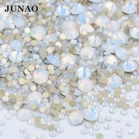 JUNAO 1400pc Mixed Größe Weiß Opal Glas Strass Flache Rückseite Steine und Kristall Nicht Hotfix Strass Nagel Aufkleber DIY 3D Maniküre