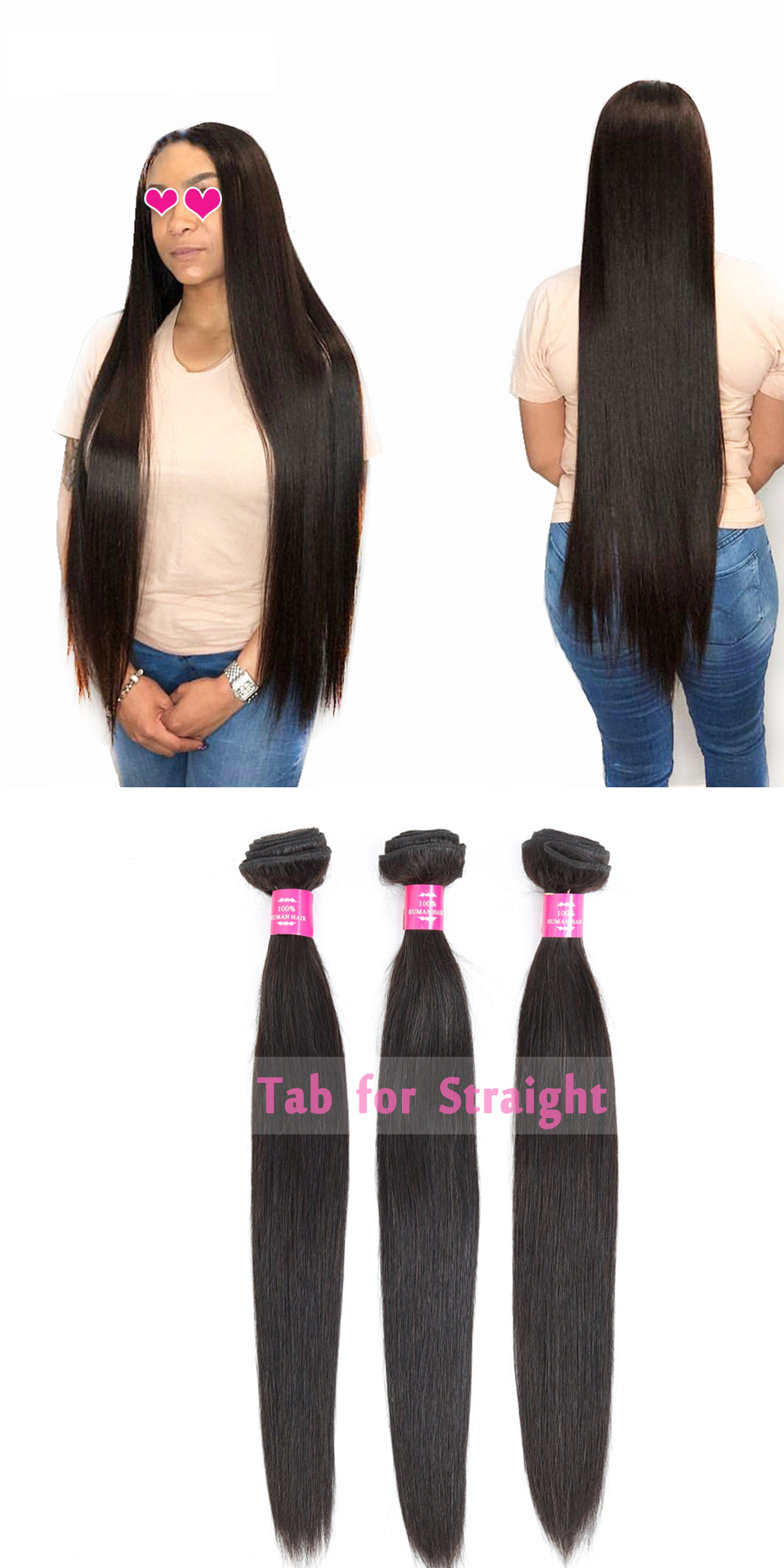 FASHOW -Hair-Products-3-4-Bundle-100-Human-Hair-Weave-Bundles-Remy-Hair-Extensions-Peruvian-Straight