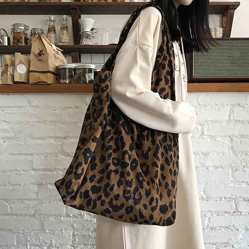 2020 Cotton Women Tote Shopping Bags Leopard Print Ladies Cloth Bag Foldable Eco Reusable Shoulder Shopper Bag Handbags