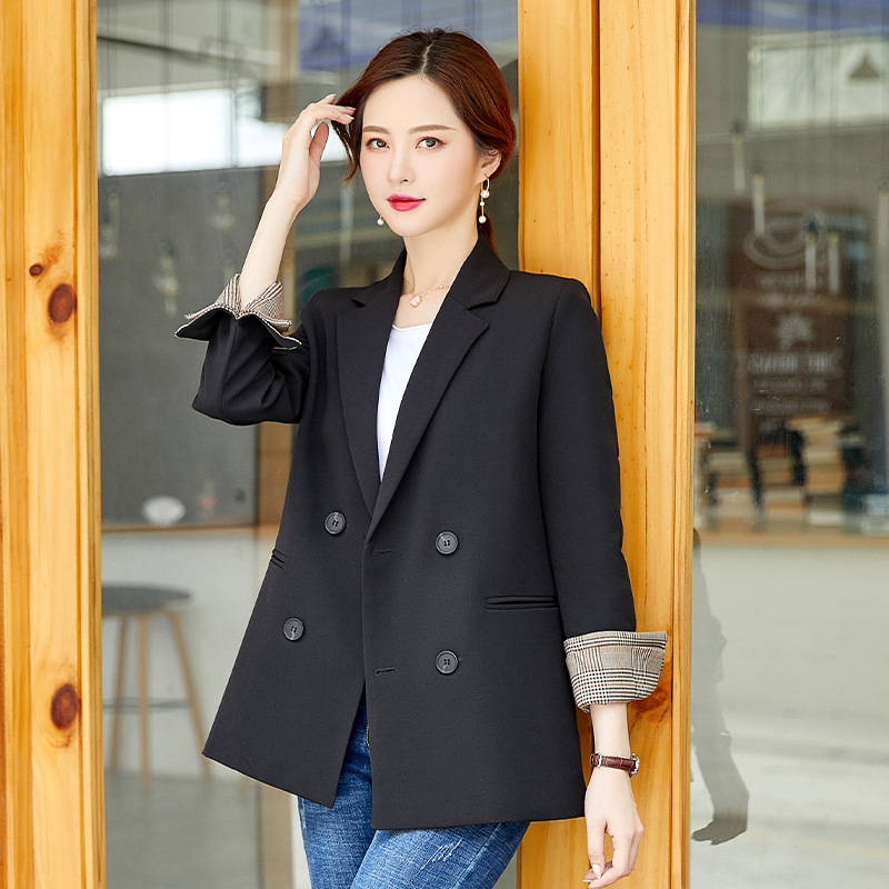 Women's Jacket 2019 Autumn New Fashion Casual Temperament Slim Wild Double-breasted Small Suit Women's Clothes