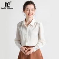 100% Natural Silk Women's Runway Shirt Turn Down Collar Long Sleeves Ruched Fashion Blouse work Shirt