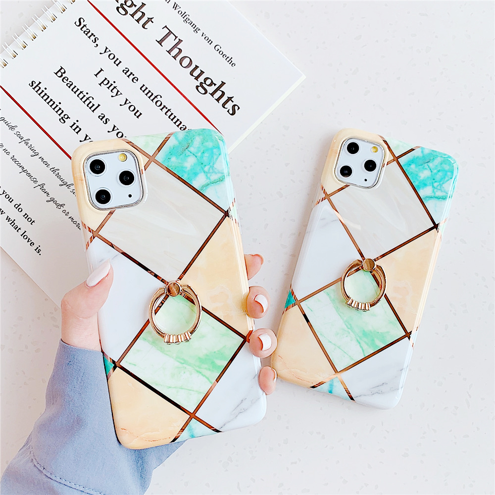 Electroplating Marble Phone Case for iPhone 11 Pro Max iPhone XR XS MAX X XS 7 8 6 6S Plus Hoder Ring Case Gift Plating Cover
