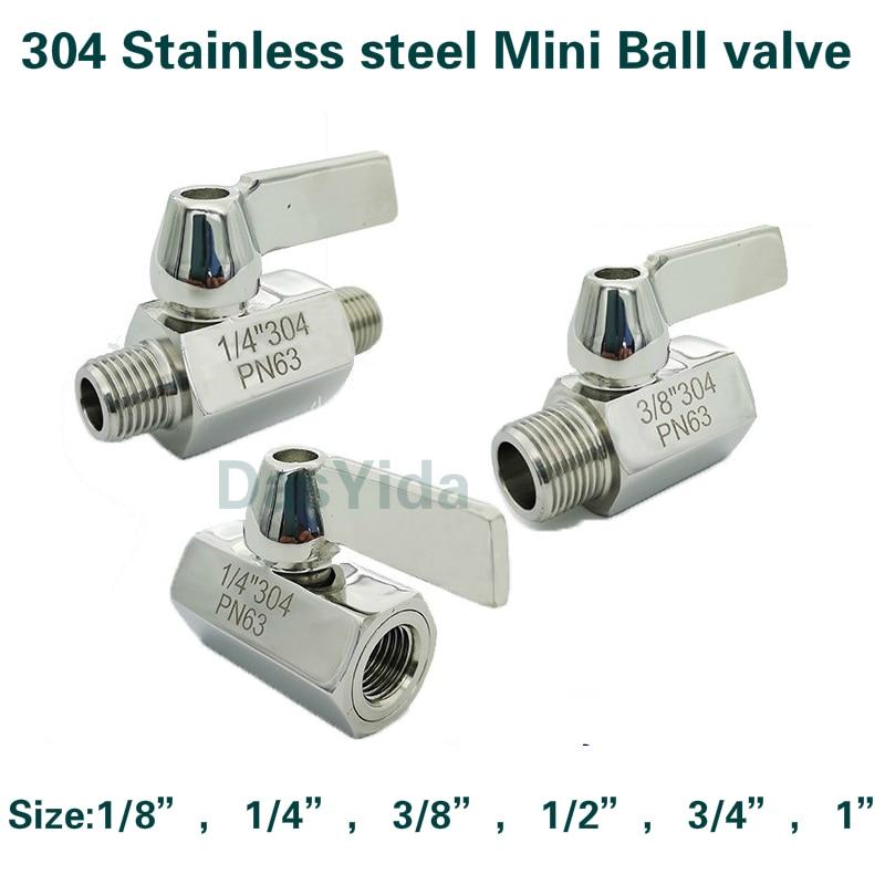 304 Stainless Steel Mini Ball Valve 1/8 1/4 3/8 1/2 3/4 / 1 NPT BSP Female Male Thread For Water Oil Acid 2 Way Ball Valve