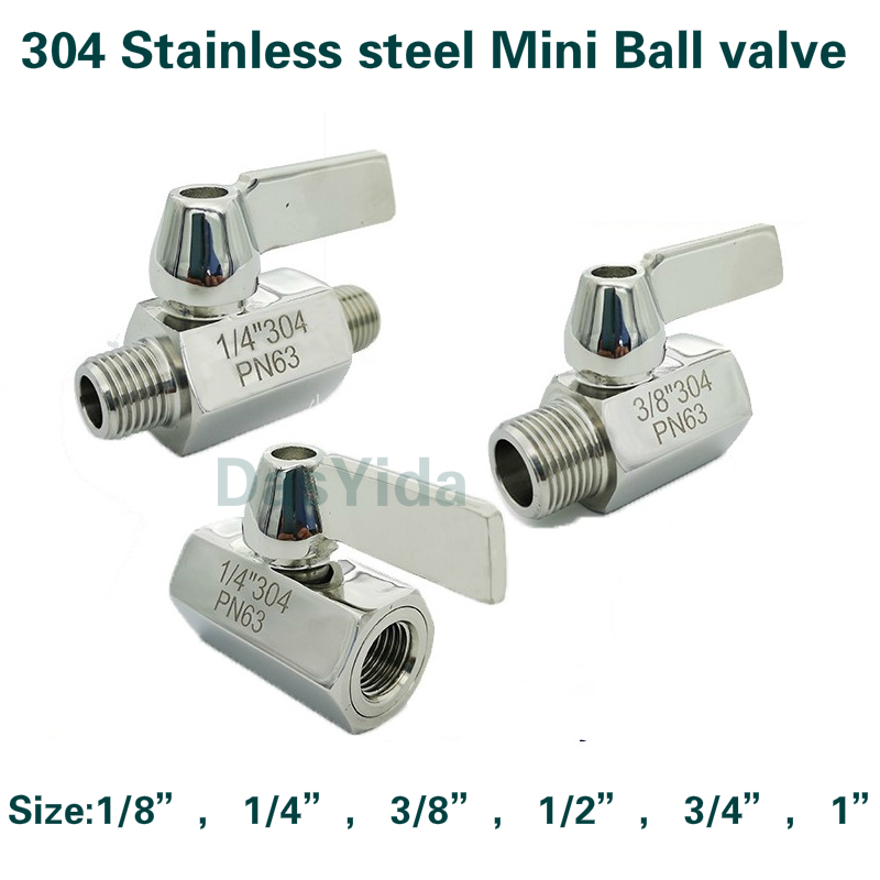 304 <font><b>Stainless</b></font> <font><b>steel</b></font> Mini <font><b>Ball</b></font> <font><b>valve</b></font> 1/8 1/4 3/8 <font><b>1/2</b></font> 3/4 / 1 NPT BSP Female male thread for water oil acid 2 way <font><b>ball</b></font> <font><b>valve</b></font> image