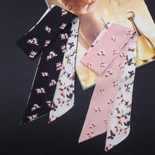 Women Headband Silk Scarf Multi-function Kerchief Handbage Ribbon Wholesale Drop Shipping / flora Printed Hair Accessories