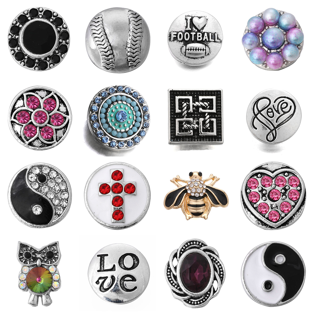 10pcs/lot High Quality 12MM Snap Button Jewelry Mixed Metal Crystal Snaps Fit Mini Snap Bracelet Bangle Earrings Necklaces ZL042 image