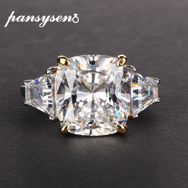 PANSYSEN Exquisite Created Moissanite Rings For Women Real 925 Sterling Silver Wedding Engagement Jewelry Ring Wholesale Gifts