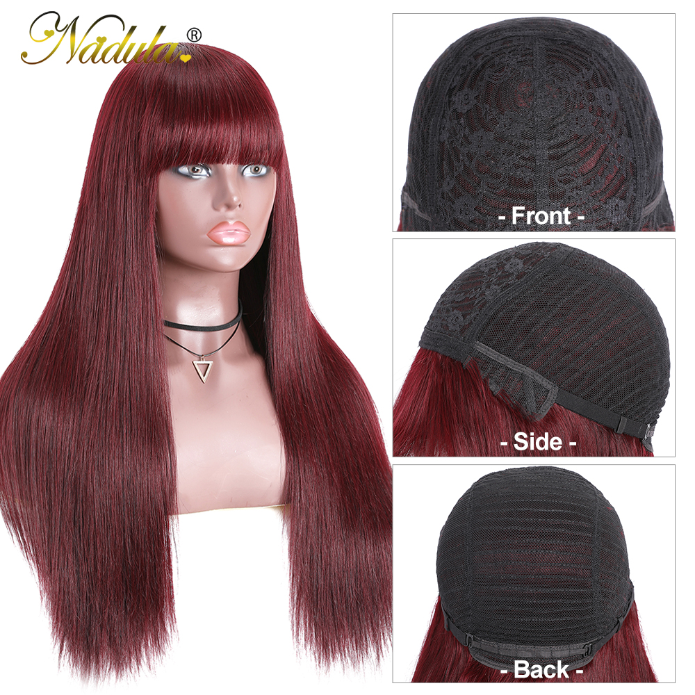 """Nadula Hair Wig #99J Straight Wig With Bangs  Wigs Pre Plucked Full Machine Wigs 18"""" 20"""" Straight Hair 2"""