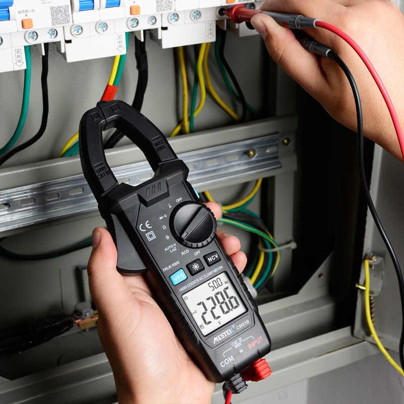 MESTEK dijital kelepçe metre 600A AC akım AC/DC gerilim Ohm True RMS otomatik aralığı VFD kapasite NCV Tester ampermetre multimetre