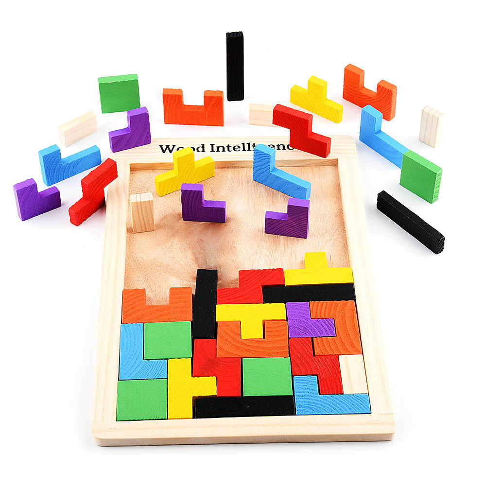 Puzzle Games Math Toys Jigsaw Model Children Education Cubes Teaser Puzzle Montessori Wooden 3D Children For Learning