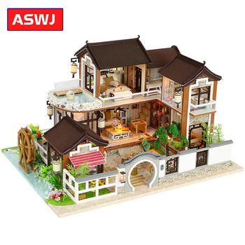 Miniature Courtyard Dollhouse Furniture Kits DIY Wooden Dolls House LED Lights Puzzle Toy Children Christmas Birthday Gifts