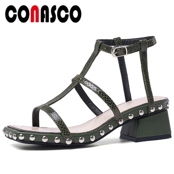 CONASCO Fashion Women Sandals Pumps Genuine Leather Summer New Arrival Narrow Band Rome Style Thick Heels Rivets Shoes Woman