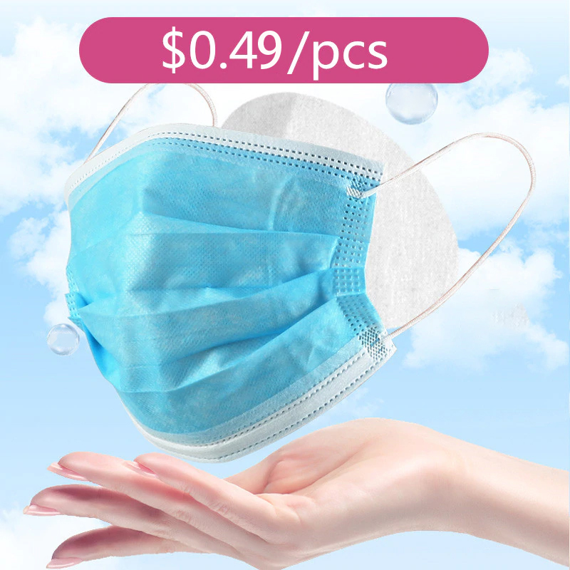 100/pcs Disposable Mask Adult Prevent Flu 3-layer Filter Surgical Mask Protection Antibacterial Antivirus Hospital Masks
