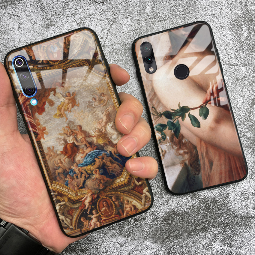 Vintage Painting Art Aesthetics soft silicone glass Phone case cover for Xiaomi mi 6 8 9 SE mix 2 2s 3 redmi note 5 6 7 8 pro