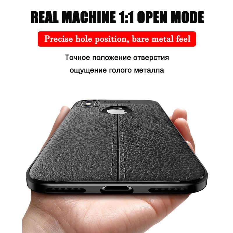 หรูหราหนัง PU ซิลิโคนลิ้นจี่ Soft Case สำหรับ iPhone 7 8 6 6 S PLUS X ชุดเต็มสำหรับ iPhone X XR XS MAX กันชน