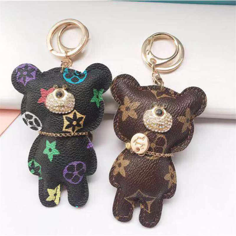 1pc Teddy Bear Animal Leather  Toy Soft Cartoon Keychain pendant Brown Figure Doll Child Kids Gift Toys Birthday Gift