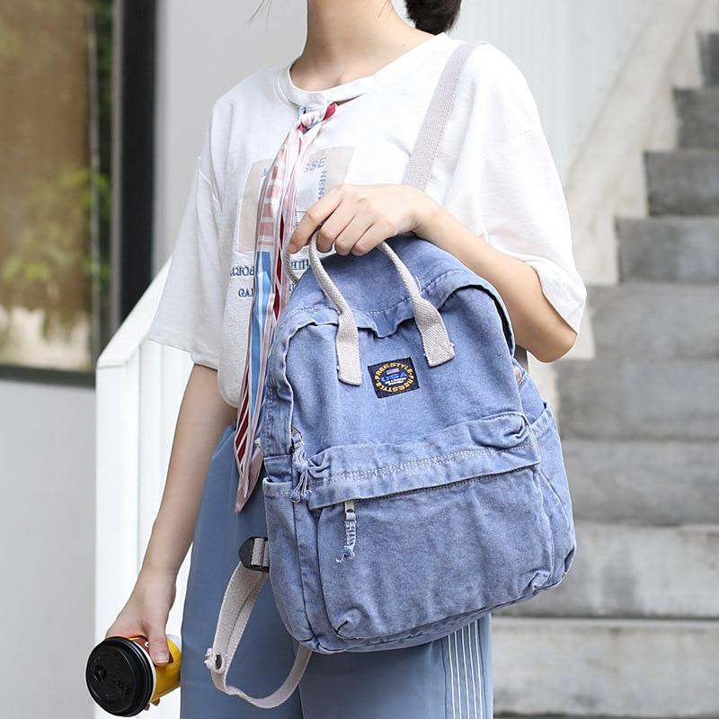 Hot Backpack Women's 2019 New Style Korean-style Canvas Combination Bag Men's And Women's Student School Bag Unisex Satchel