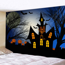 Halloween pumpkin castle holiday party pumpkin background tapestry background decoration cloth printing multiple sizes plank pumpkin print halloween wall tapestry