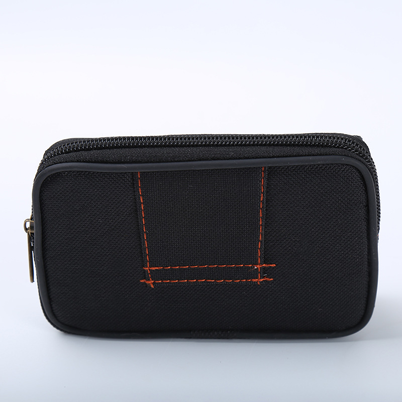Wear Leather Belt Wallet Medium Canvas Waist Pack Men Business Casual Double Zipper Mobile Phone Waist Bag Sports Bag