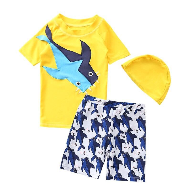 New boys' 3pcs swimwear Korean baby shark swimsuit Kids children's fast drying sunscreen bathing cap Beach wear YZN20002