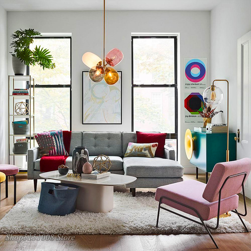 Цветной светодиодный подвесной светильник в скандинавском стиле с воздушным шаром, Подвесная лампа для детской комнаты, спальни, столовой, освещение, Декор - 4