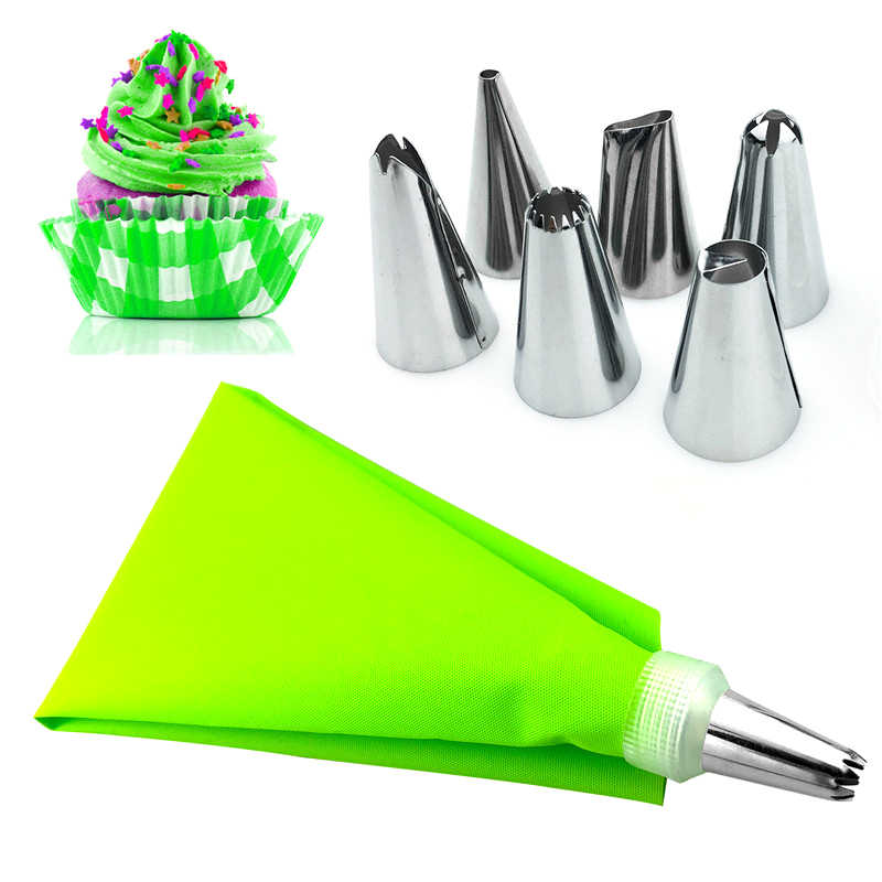 VOGVIGO Dropshipping 8PCS Silicone Kitchen Accessories Icing Piping Cream Pastry Bag 6 Stainless Steel Nozzle Sets cake tools