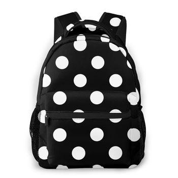 2020 Backpack Women Shoulder Bag Black White Polka Dot Fashion School Bag For Teenage Girl Backpacks Travel Bag фото
