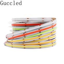 Cob/fob alta densidade led luz de tira flexível 384/582leds/m ,10/14w ra80 branco/natureza branco/branco morno/vermelho/azul/verde dc12 24v