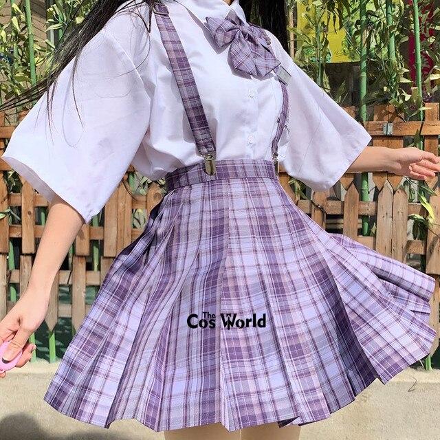 [Grape Soda] Girl's Summer High Waist Pleated Skirts Plaid Skirts Women Dress For JK School Uniform Students Cloths