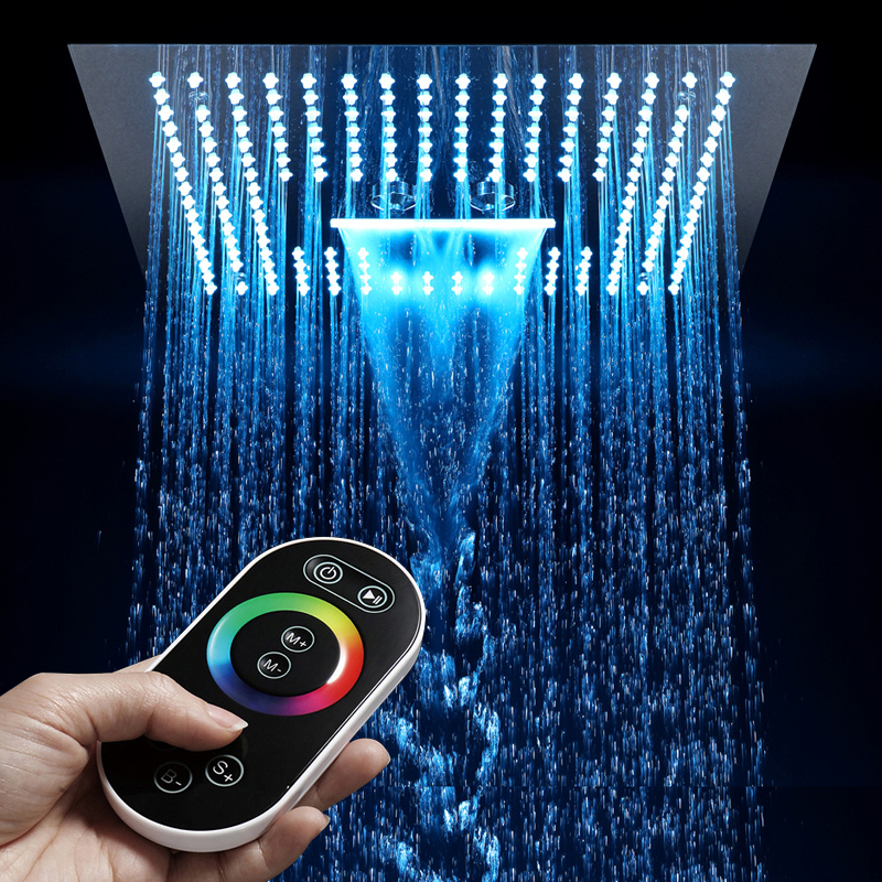 16 Inch Remote Control Light Rain Led Shower Head Without Shower Bathroom 64 Color LED Showerhead Misty Waterfall Shower Ceiling