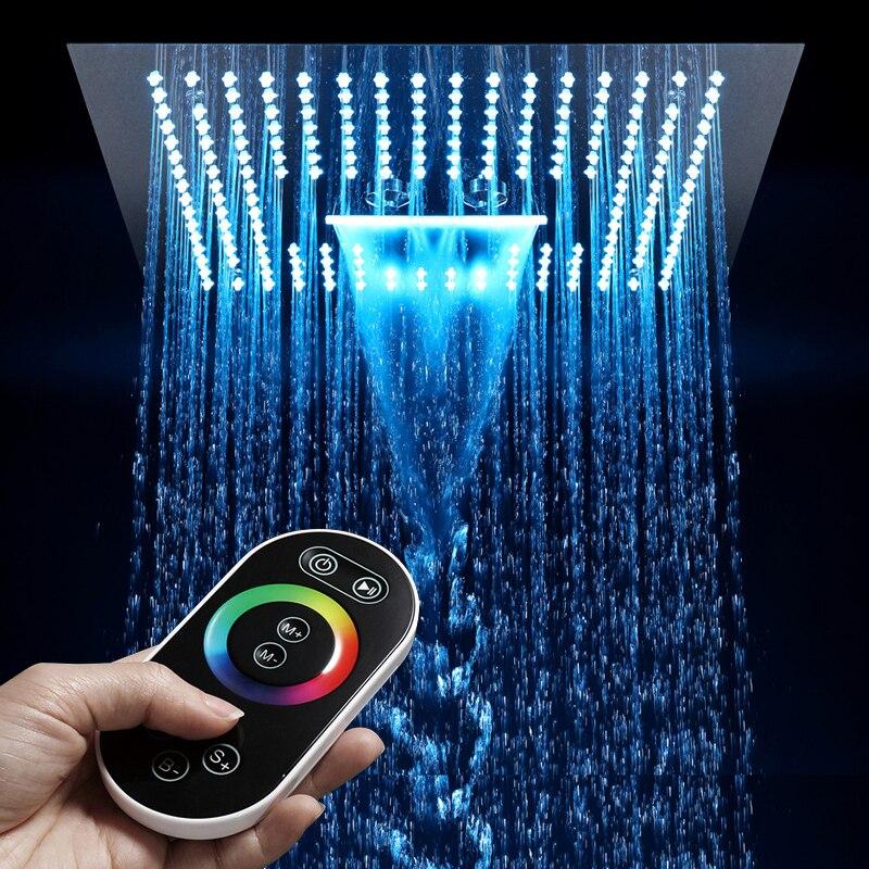 16 Polegada Controle Remoto Luz Chuva Led Cabeça de Chuveiro Sem 64 Misty Cor LED Chuveiro Chuveiro Do Banheiro Cachoeira Chuveiro de Teto