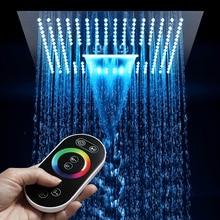 """64 cor led chuveiro do banheiro spa chuvas cabeça de chuveiro aço inoxidável 16 """"teto quadrado chuveiros painel cachoeira preto & chorome"""