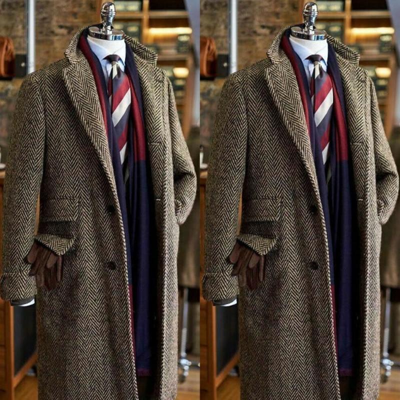 2020 Newest Brown Mens Suits Tweed Notch Lapel Terno Masculino Herringbone Classic Men Suit Custom Made