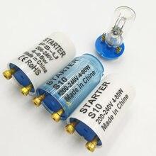 Iniciante de fusível s10, 10 peças para 4-80w 180-250vac, lâmpada fluorescente, iniciante eletrônico, lâmpada fluorescente iniciantes ce