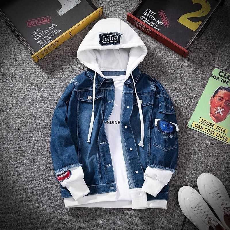 Lente Herfst Hooded Denim Jas Heren Hip Hop Jeans Coat Retro Jean Jas Straat Ongedwongen Bomberjack Bovenkleding Hoodies