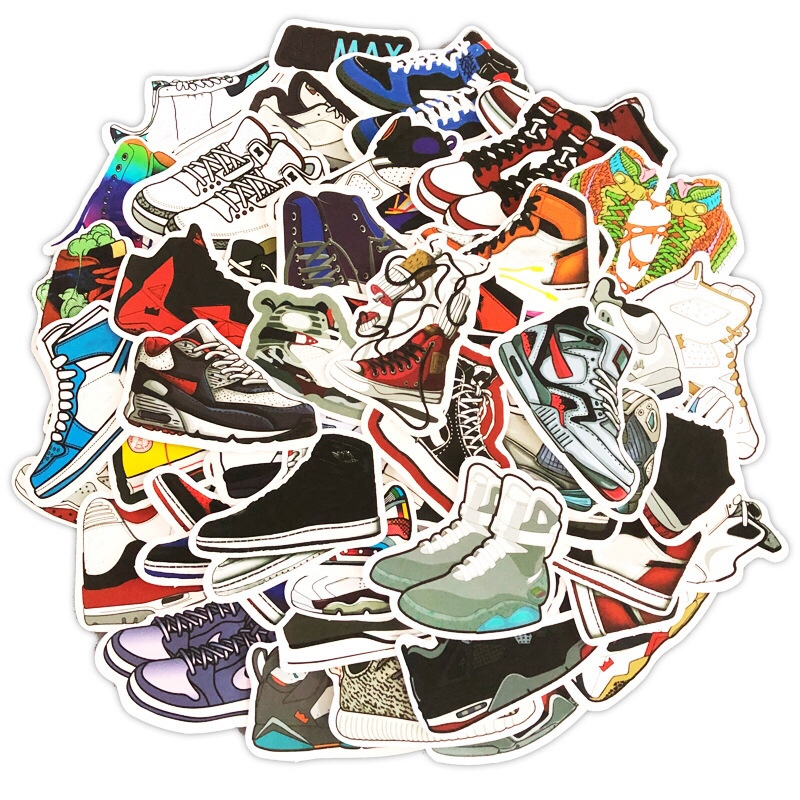 100pcs/pack Mixed Cartoon SNEAKER Stickers For Notebook Graffiti Waterproof Stickers Bike Luggage Box Shoes