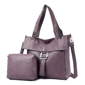 Image 3 - 2 Pc/s Women Leather Handbags High Quality Purses And Handbags 2019 Female Soft Leather Shoulder Bag Sac A Main Tote Bags Women
