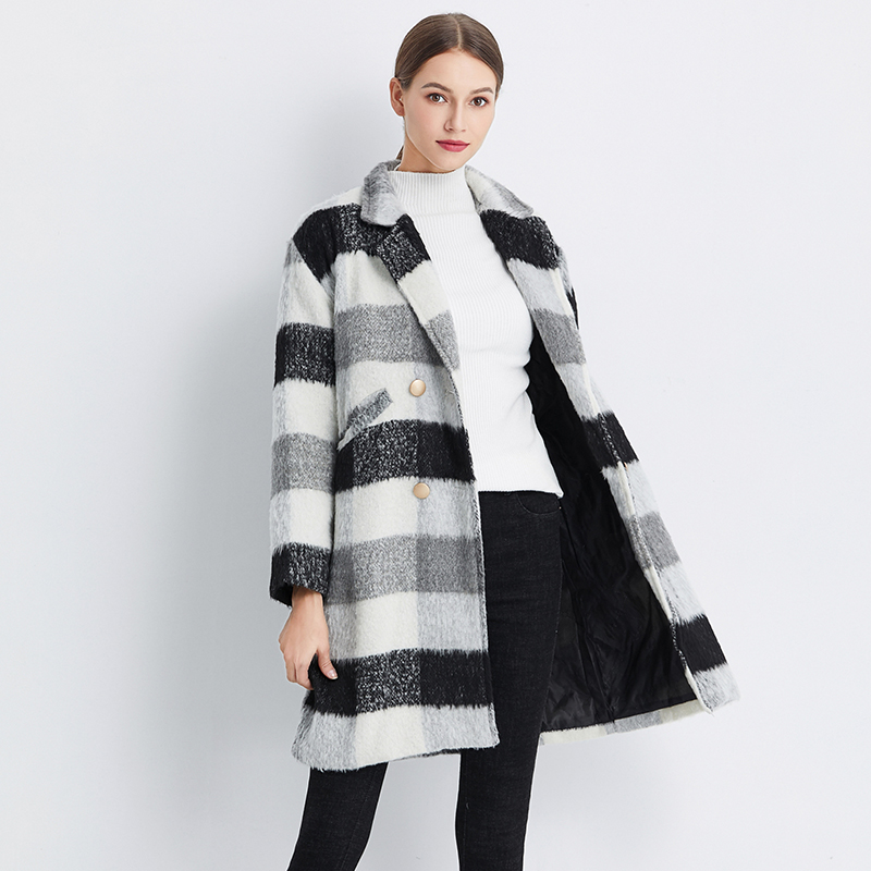 Ailegogo New Autumn Winter Cashmere Trench Jacket Women Casual Black White Plaid Coat Thickness Warm Button Pocket Jackets 4
