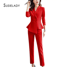 SUSIELADY Women's Suits Solid Double-Breasted Offi
