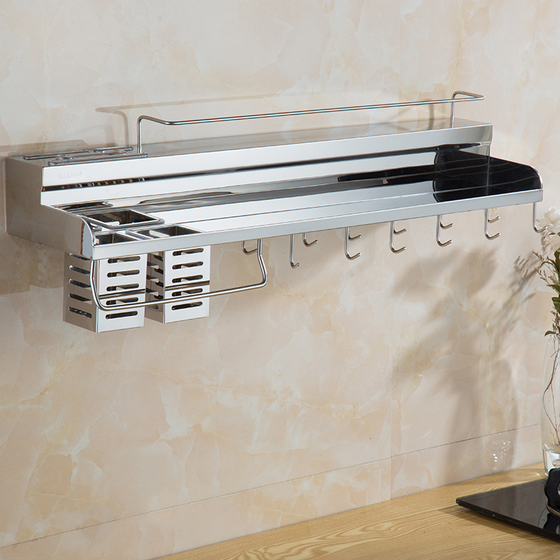 Kitchen Hardware Rack Stainless Steel 304 Knife Rest Spices Storage Shelf Wall Hanging Storage Rack