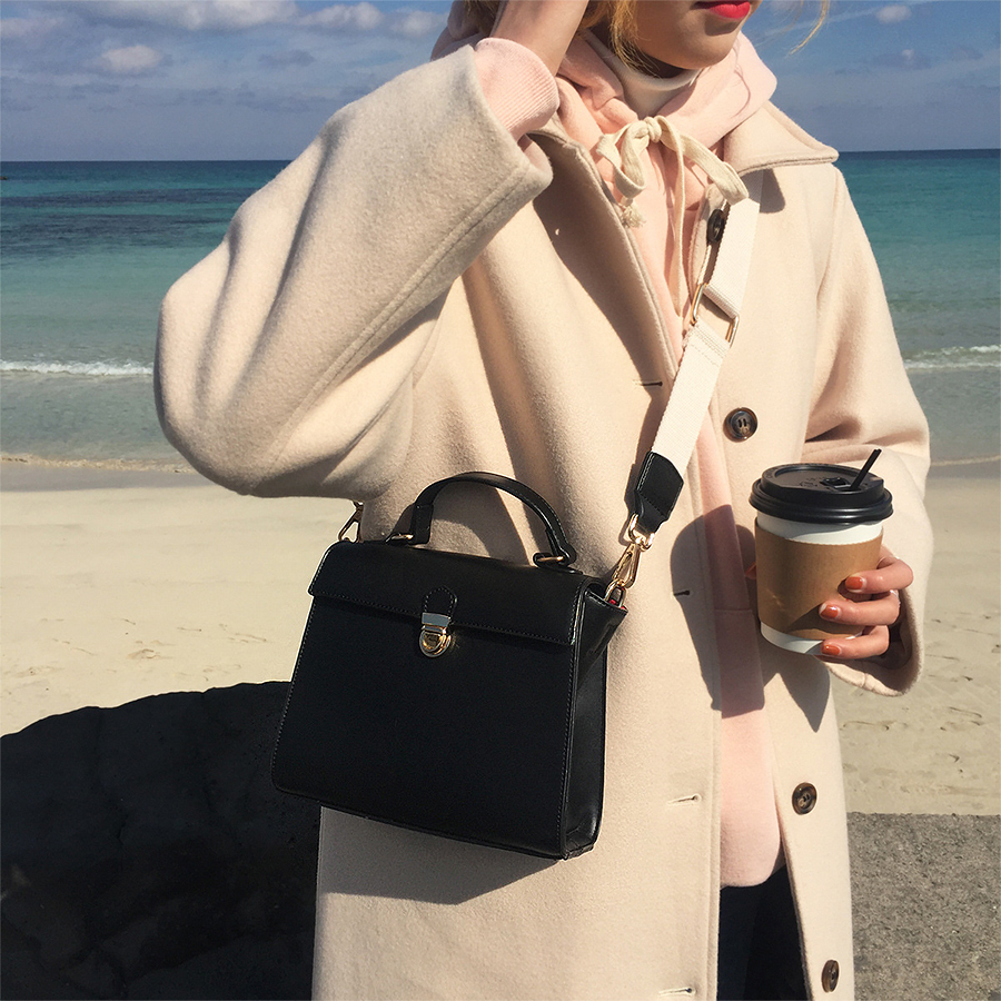 Casual Handbags Black Women Shoulder Bags Designer Crossbody Vintage Solid Color Messenger